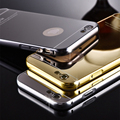Luxury Metal Hard Phone Case For iPhone 5 5s SE 6 6S 7 Plus Plating Aluminum Frame+Mirror PC Back Cover