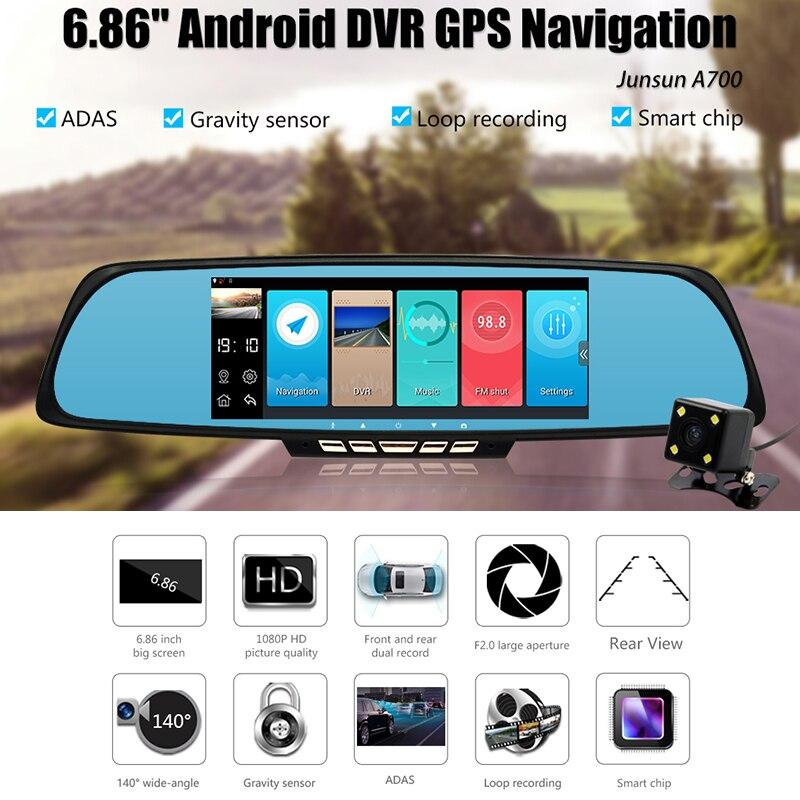 SODIAL 10 Telecamera Dvr 3G Specchietto Retrovisore Auto Dvr Dual Lens Android 5.1 Dash Cam App Adas Warning Dual Lens G-Sensor Dvr
