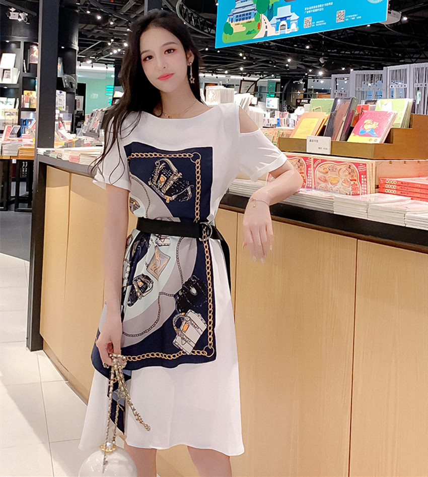 Fashion Summer Women Casual Dress High Street Print Belt Short Sleeve Loose Dress Sexy Off Shoulder Patchwork Hit Color Dress 4