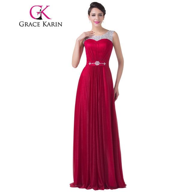 Online Shop Grace Karin Evening Dress Red Chiffon Long Evening Gowns ...