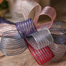 100yards 10/16/25/40mm glitter stripes organza sheer ribbon for gift box packing bouquet bow supplies wedding party