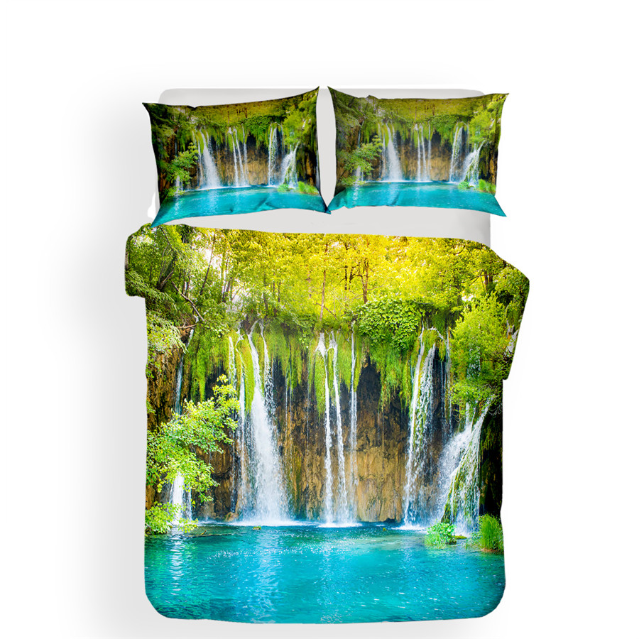 Image 2 - Bedding Set 3D Printed Duvet Cover Bed Set Forest waterfall Home Textiles for Adults Bedclothes with Pillowcase #SL01-in Bedding Sets from Home & Garden