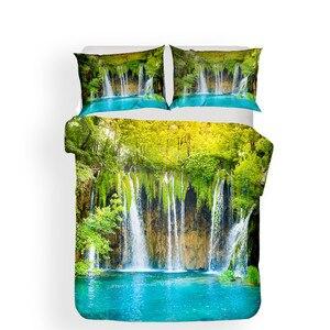 Image 2 - Zestaw pościeli 3D kołdra z nadrukiem pokrywa łóżko – zestaw las wodospad tekstylia domowe dla dorosłych pościel z poszewka na poduszkę # SL01