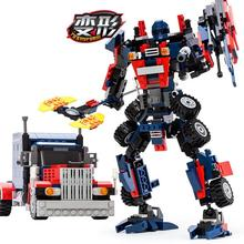 2-in-1 377pcs Transformation Series Prime Transform Robot Car Big Truck Building Block Model Toy Gudi 8713 Gift For Kids Boy цена 2017