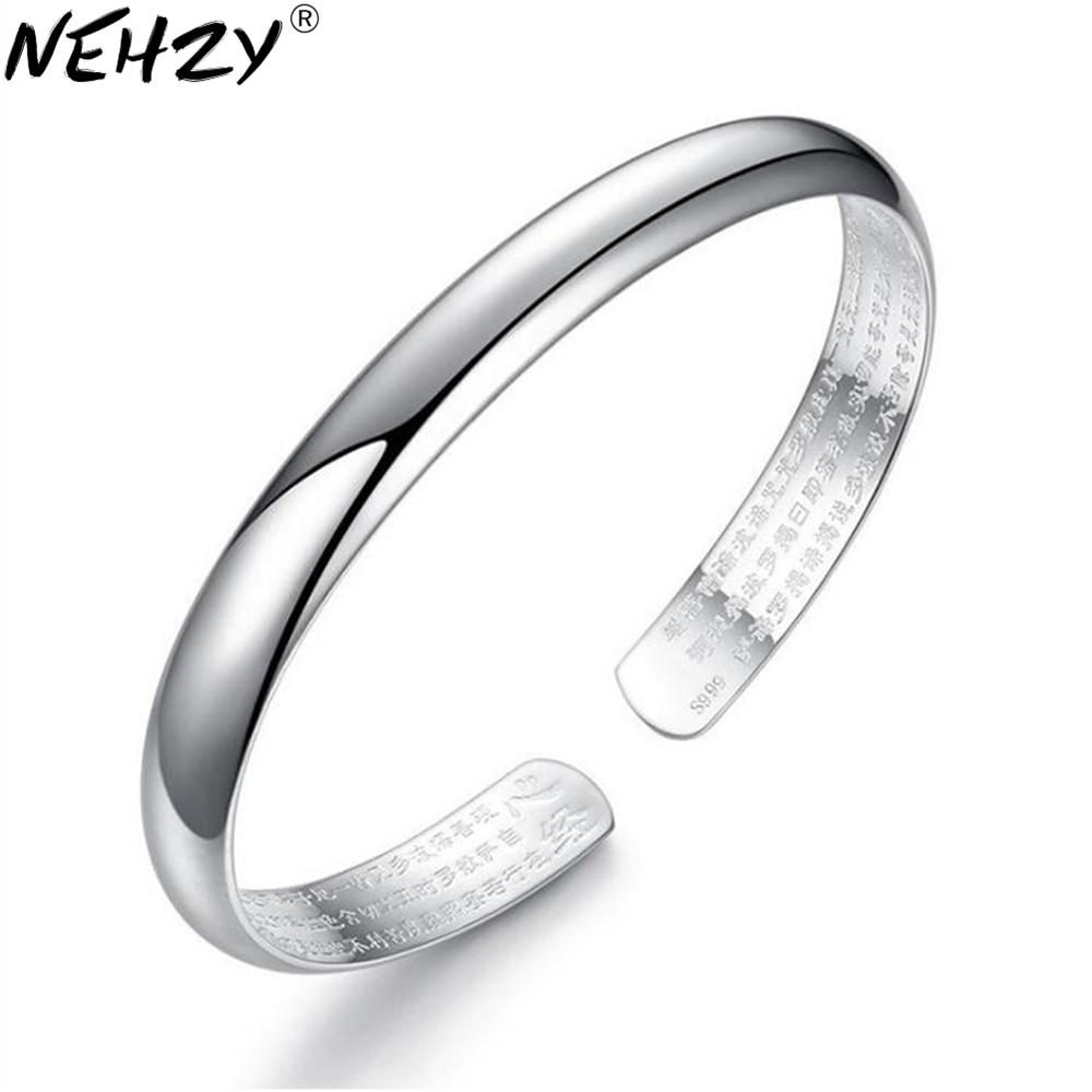 NEHZY 925 sterling silver new Retro Heart Sutra silver Bangles women bracelet fashion glossy simple luxury jewelry