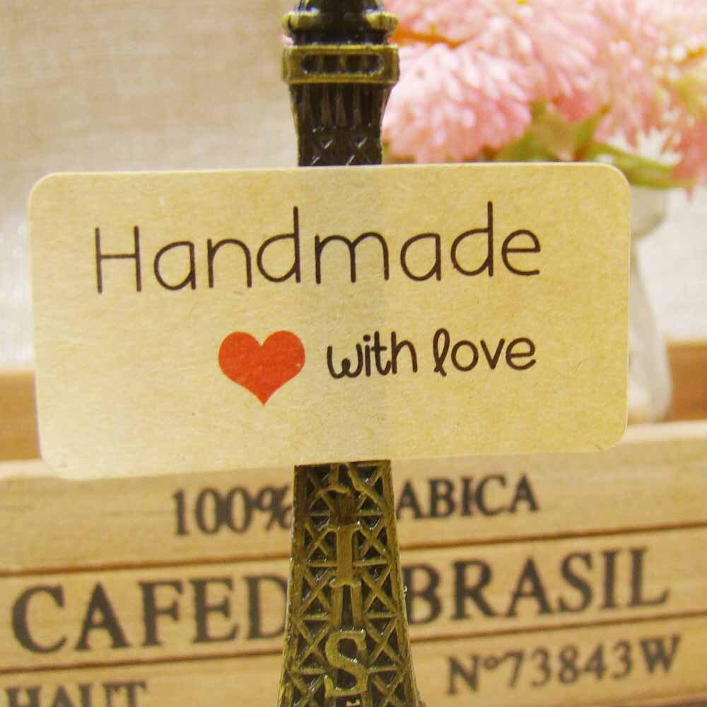Wholesale 200pcs 1lot size 2040mm kraft retangular handmade with love sticker label hand made sticker custom logo cost extra