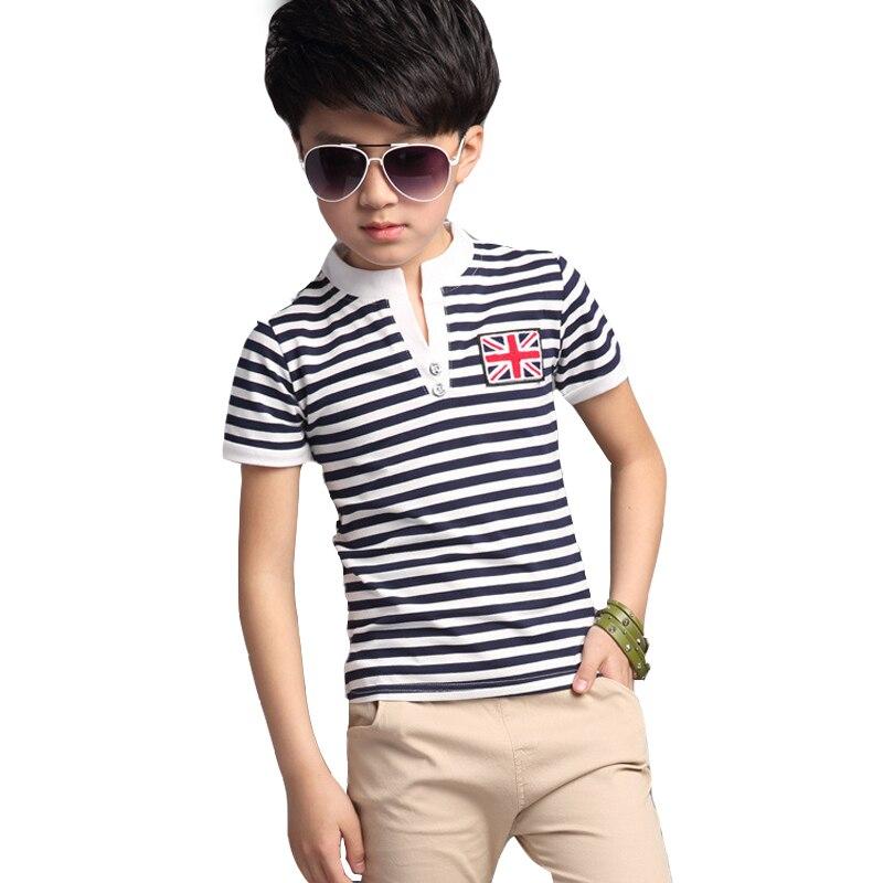 2018 летние мальчики полосатый футболка с короткими рукавами костюм комплект из двух предметов Детская Одежда для мальчиков младшего возрас... ...