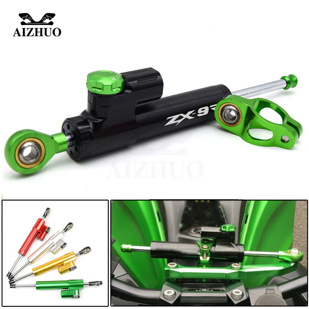 CNC Aluminum ZX9R LOGO Motorcycle Damper Steering Stabilize Safety Control For KAWASAKI ZX9R ZX 9R 1998-1999 aluminum motorcycle left crankcase stator engine cover for kawasaki ninja zx9r zx 9r 1998 2003 99 00 01 02 motorbike parts new