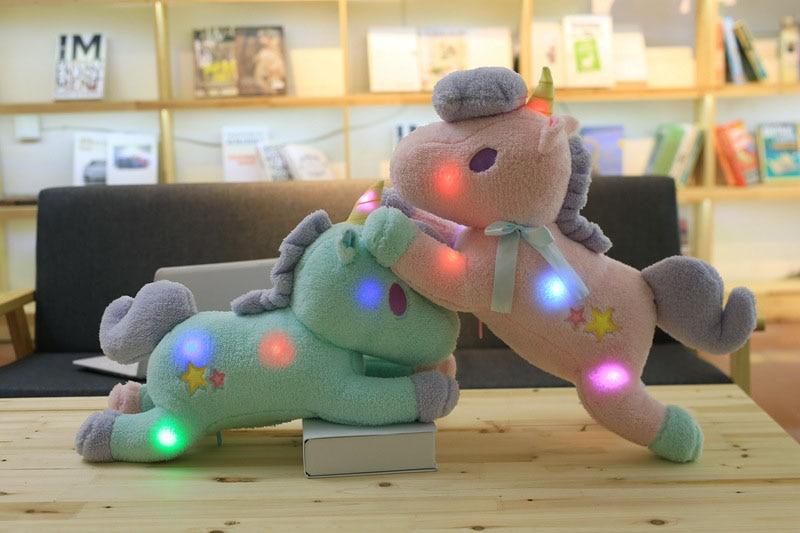 55CM Glowing Unicorn Toys Electric Pets Luminous Plush Pony Dolls Birthday Christmas Gift for Kids Children Stuffed Animals