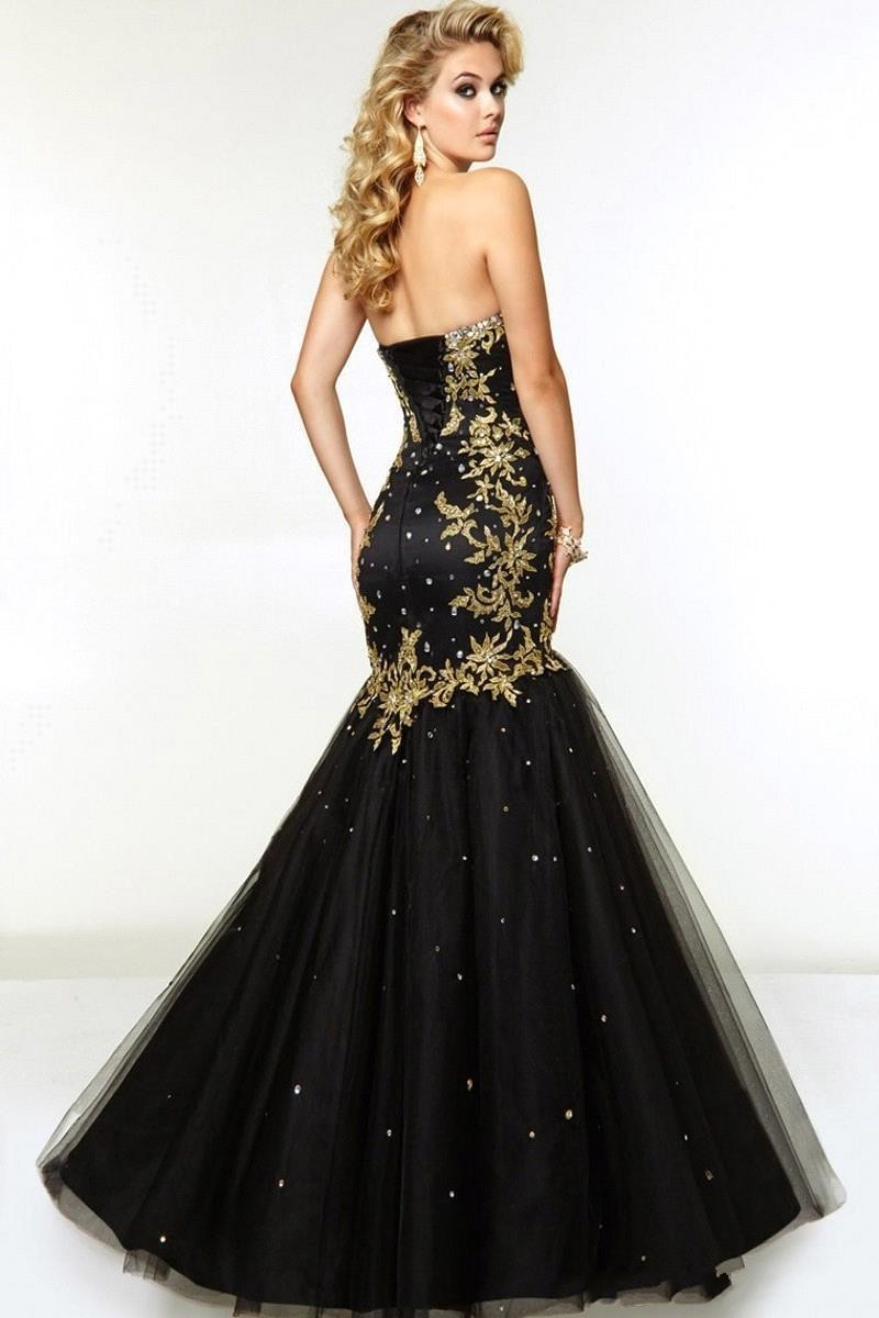 9d06400fa10ad Black Gold Sweetheart Mermaid African Prom Dresses 2019 Gold Appliques  Beaded Corset Tulle Teens Proim Gowns vestido de festa-in Prom Dresses from  Weddings ...