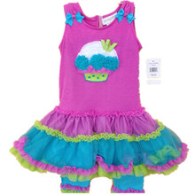 Original Brand, 6Sets/lot 2-8yrs Rare Editions Rose Color 3D Cake Stiched Vest Cute TuTu Dress and Leggings Summer Outfit