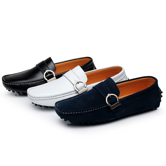 2017 Men's Loafers Printing Genuine Leather Shoes Flats Spring Man Driver Penny Loafer Fashion Slip On Casual Moccasins Sapatos