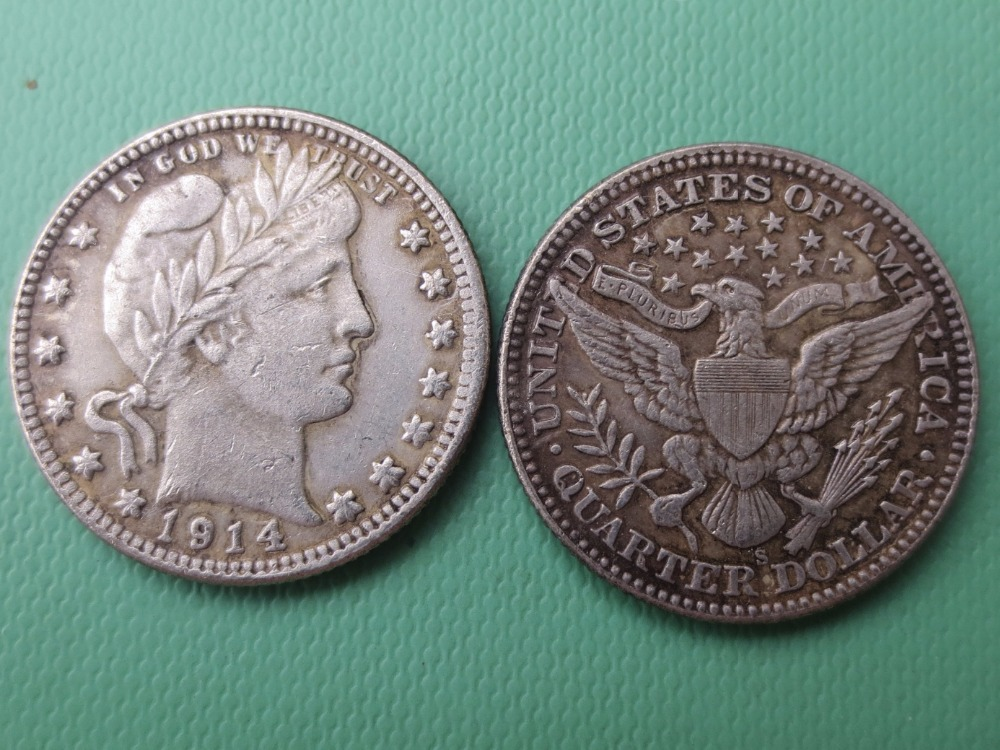 90% silver or silver plated U.S. Coins 1914-S Barber Quarter Dollars Retail / Whole Sale USA Copy Coins