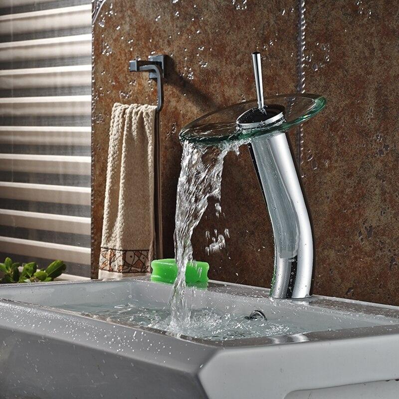 Round Style Glass Waterfall Bathroom Basin Faucet Single Handle Hole ...