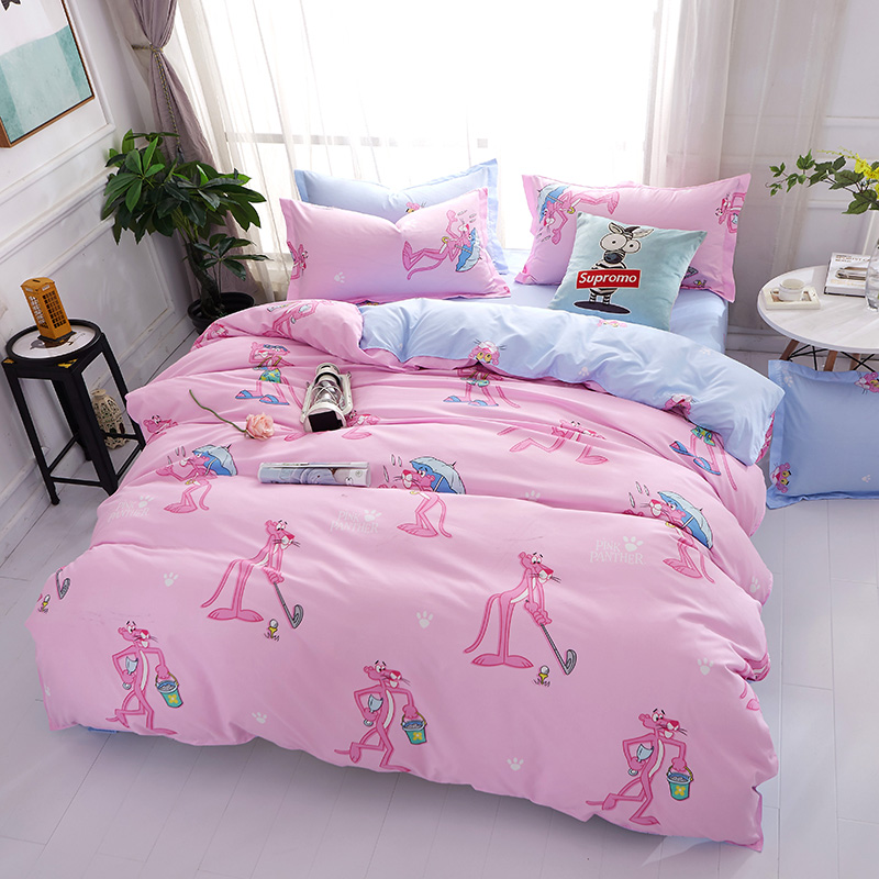 Pink Panther Bed Linen Set Girls Bedclothes Cartoon Comforter Duvet Cover King Queen Twi ...