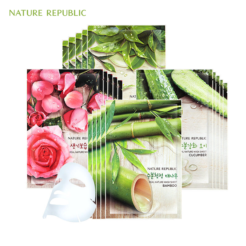 Face Skin Care 12pcs/lot Exo Nature Republic Sheet Mask Moisturizing Oil Control Whitening Shrink Pores Facial Mask Korean Face Mask