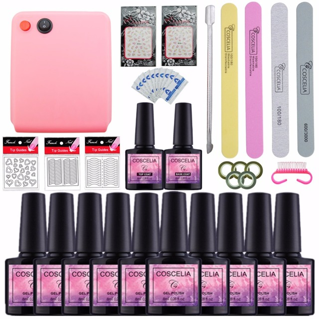 Acrylic Nail Kit Tools For Manicure Set Lamp Dryer 10 Color 8ml Soak Off