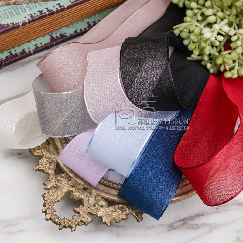 100yards 10 16 25 40mm mess style organza sheer ribbon for kids hair clip head band accessories bouquet packing bow in Ribbons from Home Garden