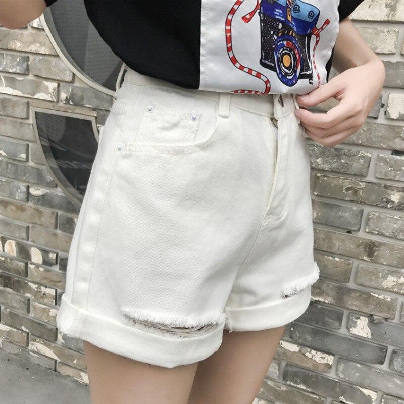2019 Summer Streetwear Korean Style Loose High Waist Women Denim Shorts Vintage Hole Loose Curling Wide Leg Ladies Short Pants