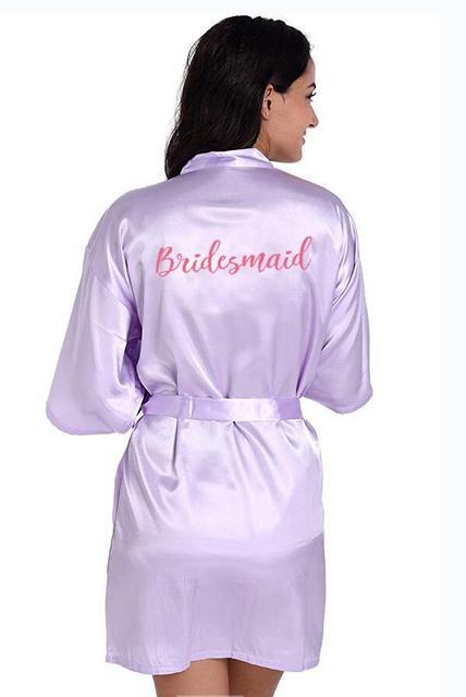 Short Satin Bridal Party Robe