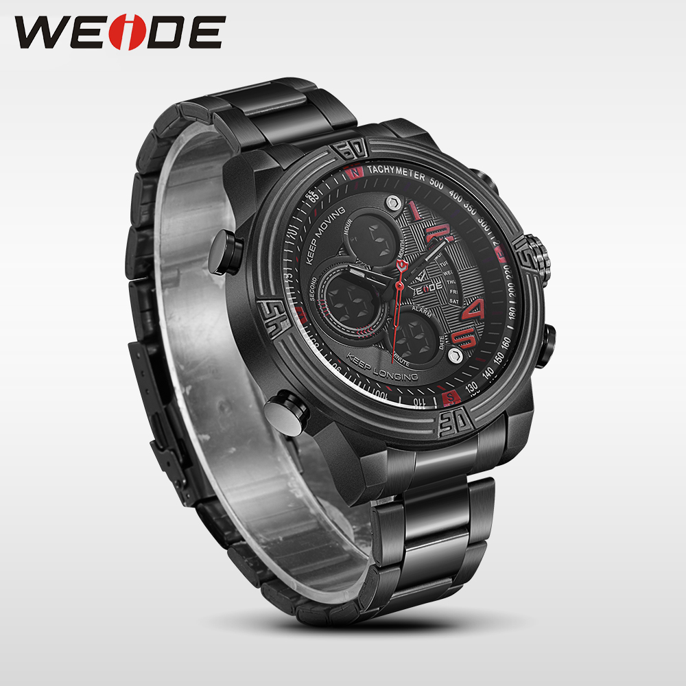 WEIDE mens watches  brand luxury Men Quartz -Digital Sport Watchr  Waterproof New Style 2017 Multiple Time Zone Watches relogio weide popular brand new fashion digital led watch men waterproof sport watches man white dial stainless steel relogio masculino