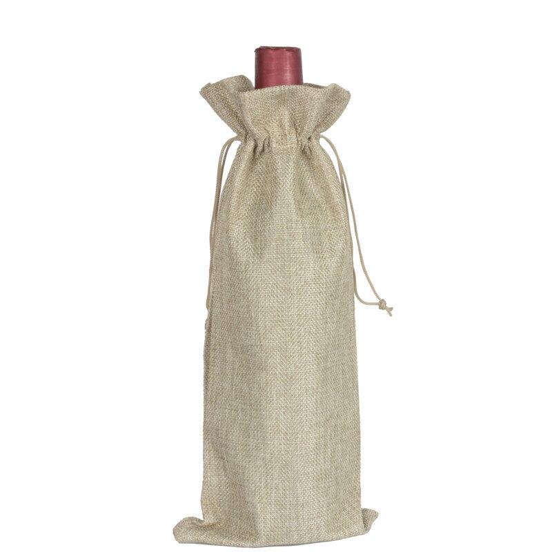 10 pcs Jute Wine Bottle Bags Burlap Hessian Drawstring Gift Cover pouch 15cmx35cm
