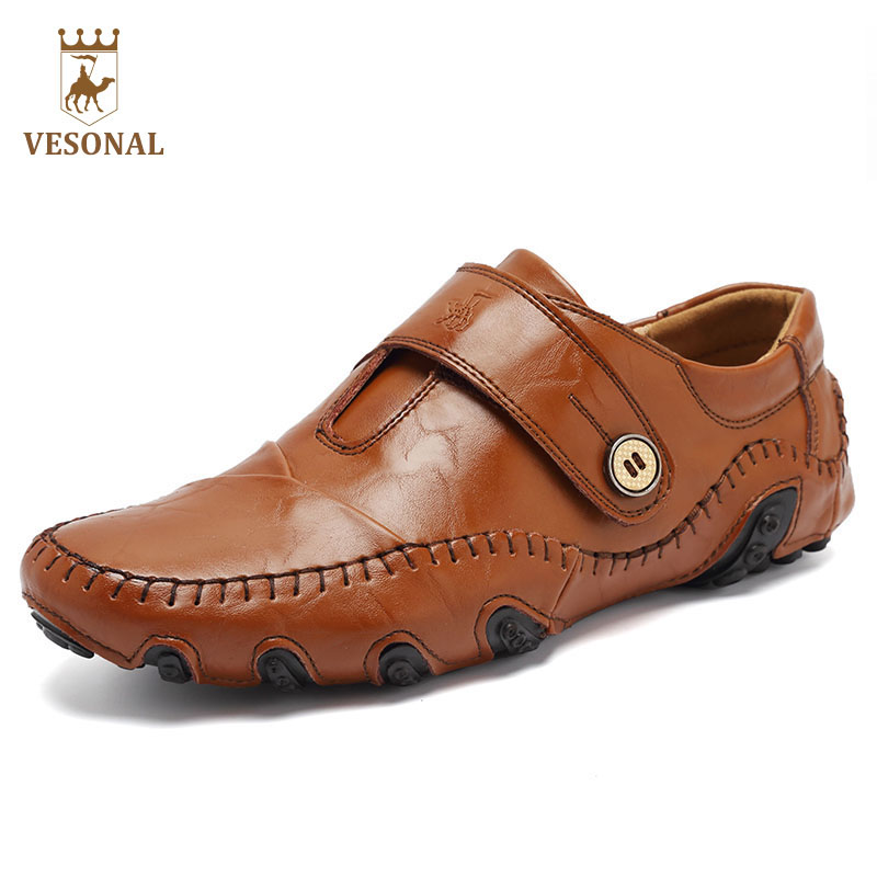 VESONAL New Brand Men Casual Shoes Mocassin Male Adult Loafers Spring Autumn Fashion Driver Walking Genuine Leather Man Footwear vesonal brand casual shoes men loafers adult footwear ons walking quality genuine leather soft mocassin male boat comfortable