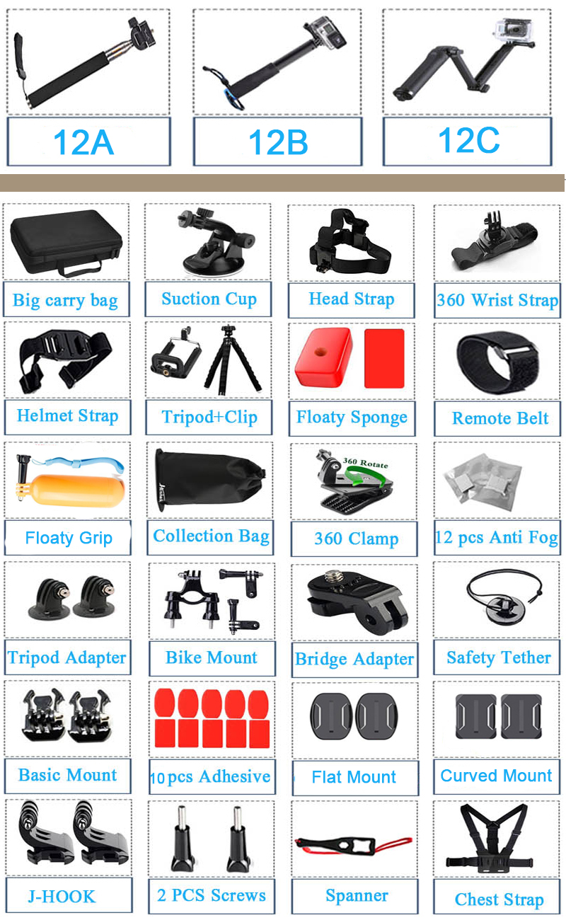 Image 5 - Husiway Accessories Kit for Gopro Hero 8 7 6 5 Black Osmo Action 4 3 Session Set for Xiaoyi 4K SJCAM EKEN and other Cameras 12A-in Sports Camcorder Cases from Consumer Electronics