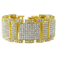 Men S Bracelet Bling Bling CZ Diamond Iced Out Gold Silver Plated Jewellery Mens Hip Hop
