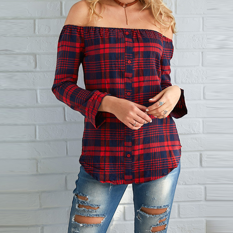 Tops Shirt Slash Neck Office New Blouses Casual Loose Shirts Blusas Femininos Women Plaid Shirt Sexy Off Shoulder 2019 Sleeve