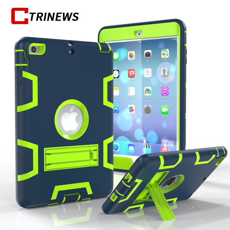 CTRINEWS Luxury Shockproof Case For iPad mini 1 2 3 360 Full Body Cover Hybrid Armor Case For iPad mini 2 Protective Case Coque for amazon 2017 new kindle fire hd 8 armor shockproof hybrid heavy duty protective stand cover case for kindle fire hd8 2017