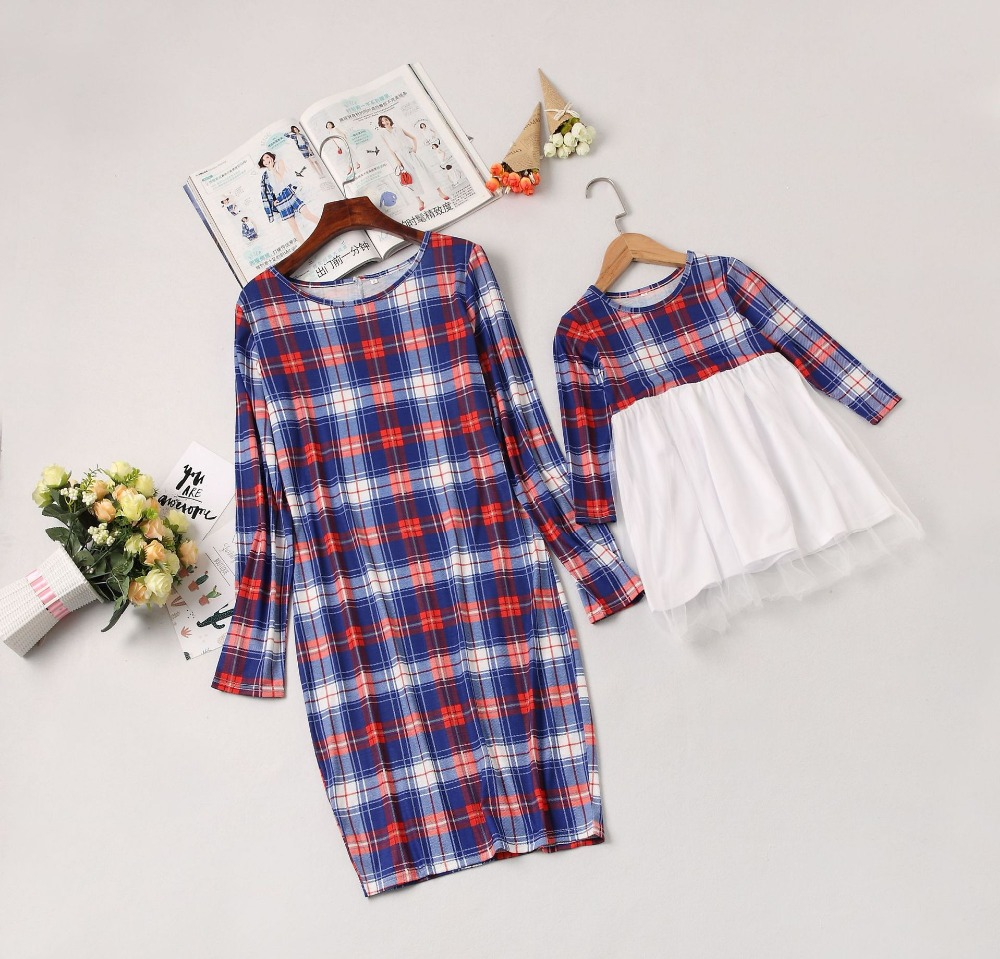 2019 New Mother Daughter Dresse Family Matching Clothes Plaid Long Sleeve Patchwork Mom And Daughter Dresses Family Look