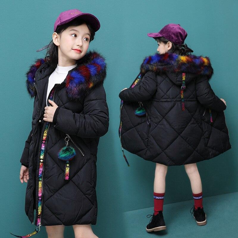 2019 hiver à capuche col en fourrure filles longs manteaux enfants épais Parka manteaux pour filles neige porter des enfants hiver vêtements d'extérieur