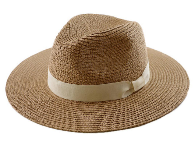 1edbdf13b995c 20pcs Large Size 63cm Men Brown Panama Hat Paper Braid Straw Fedora Women  Big Summer Beach Sun Caps Straw Fedoras Hats Wholesale