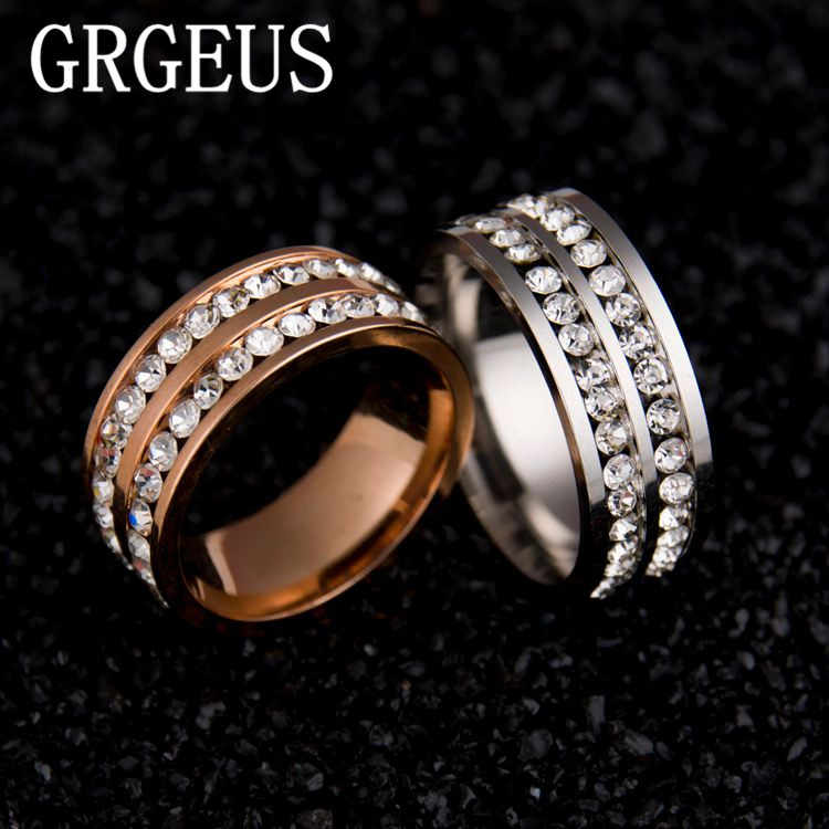 Womens Mens Fashion Double Rows Rhinestones Titanium Steel Wedding Engagement Charm Rings
