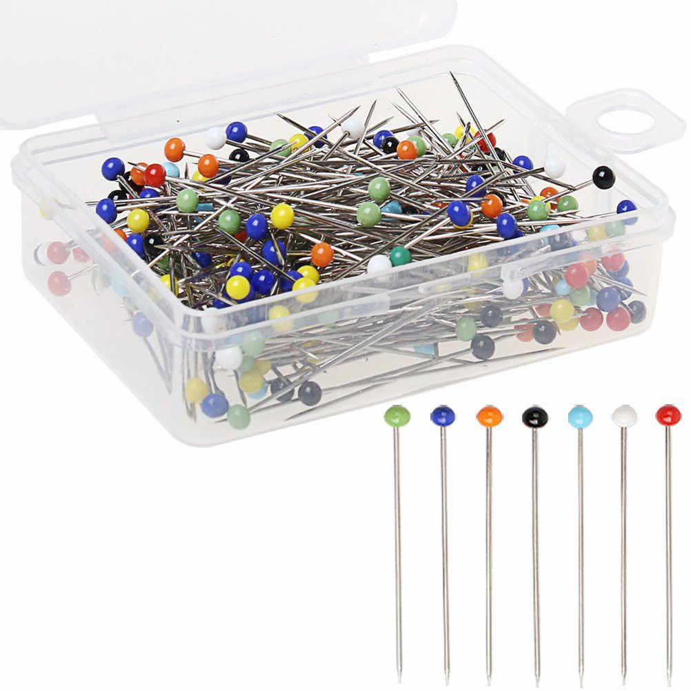 100pcs 4cm Sewing Head Pin Round Pearl Straight Pins Stainless Steel +PVC Multicolor Sewing Pins Tools