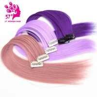 Traum eis der 10 teile/los Clip-in Einem Stück haar extensions regen bogen Haar stück 16 40 cm reine Farbe Gerade Lange Synthetische Haar