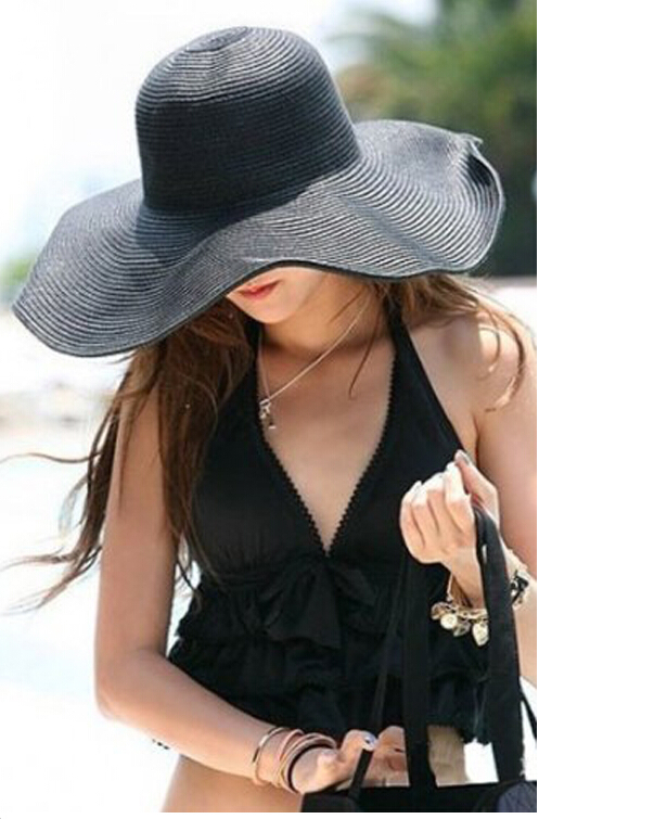 Women Cute Summer Straw Beach Hat Wide Large Brim Foldable Sun Hat-in Sun  Hats from Women s Clothing   Accessories on Aliexpress.com  53ebbd8488fc