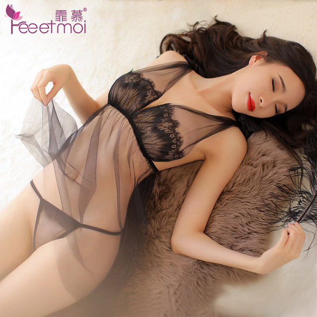 Black Pink Transparent Lace Sex Clothes Women Sexy Lingerie Negligee Hot Erotic Dress Babydoll Porn Slip