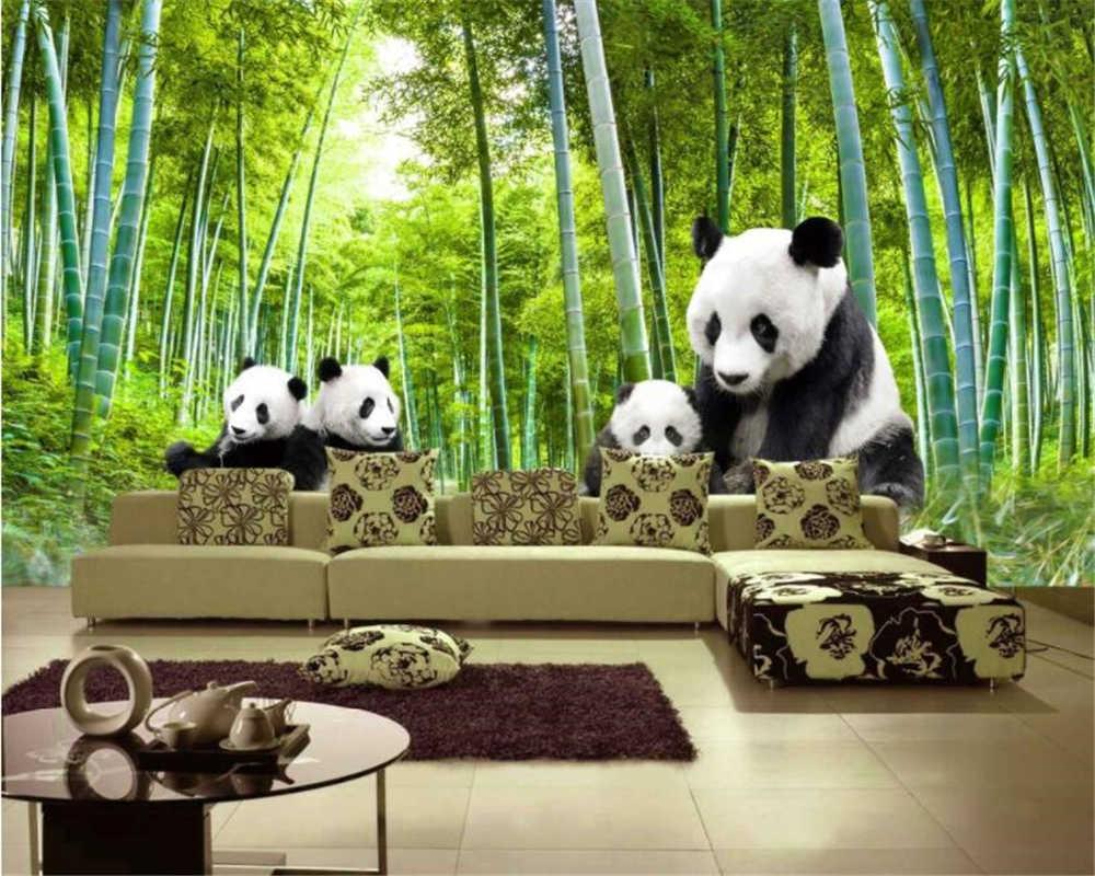 Beibehang Lucu Hitam Dan Putih Panda Pemandangan Alam Bambu Foto Pemandangan Wallpaper Wallpaper Dekorasi Kamar Wallpaper