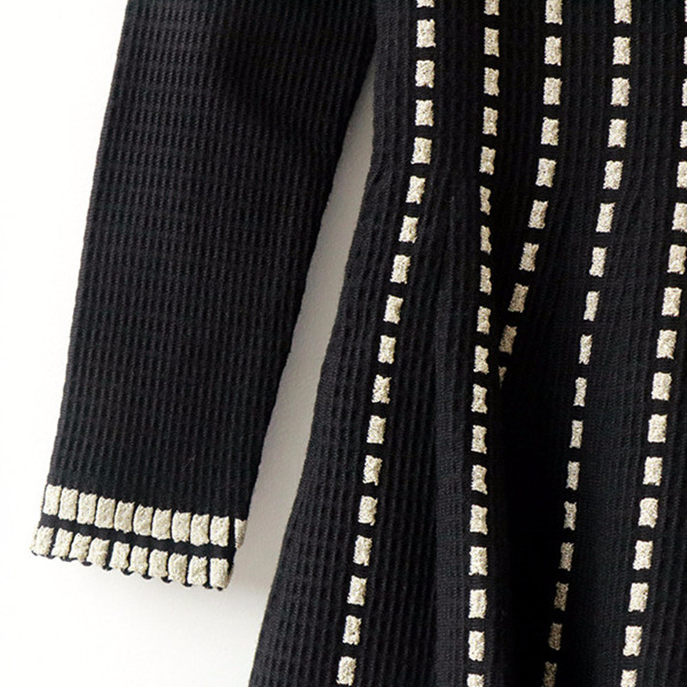 Tunjuefs Design Vintage Sparkle Dress Women Pullover Slim Lurex Striped Dress Knit Vestido Autumn Winter Dress Runway Robe