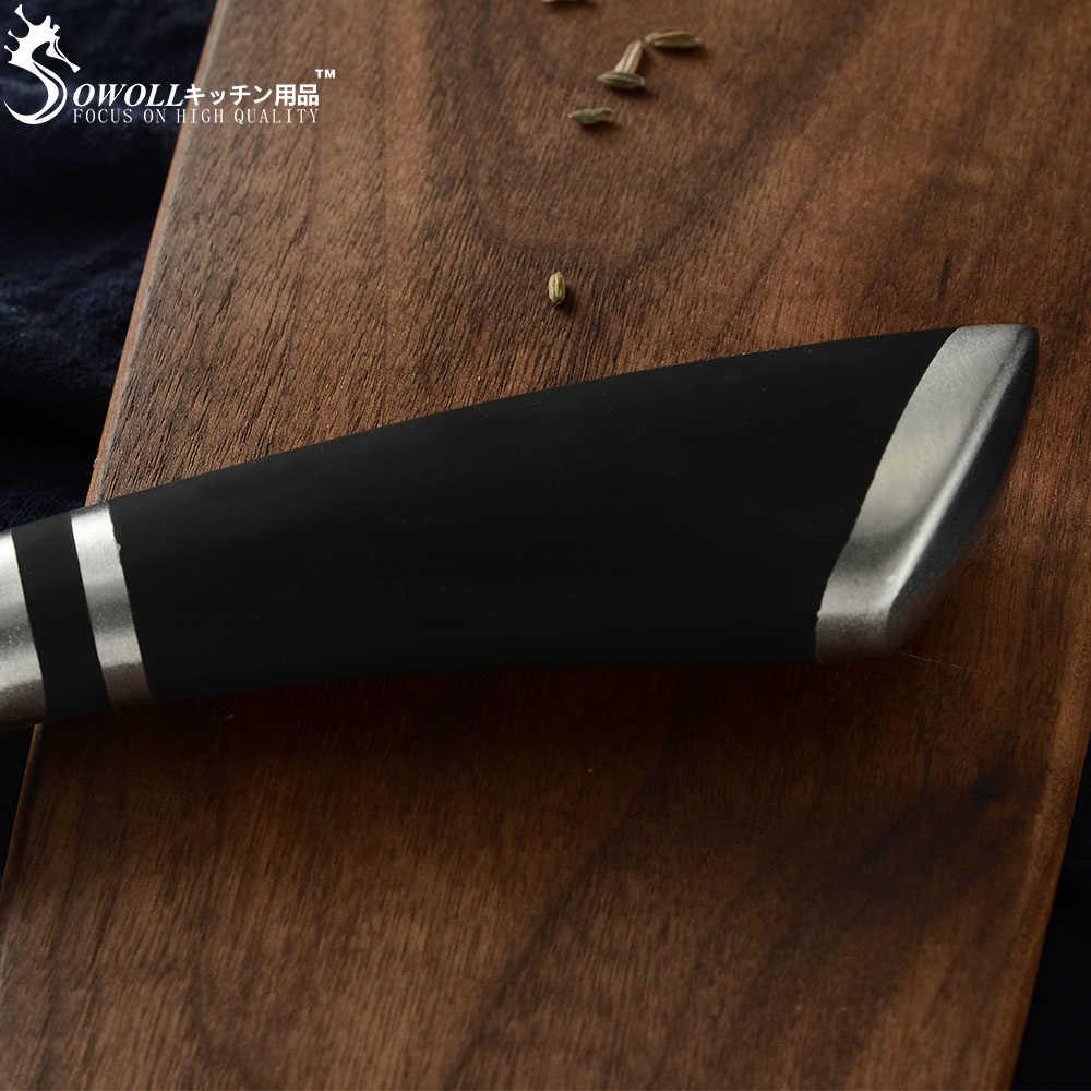 SOWOLL Japanese Nakiri Stainless Steel Kitchen Knife Little Chopping Knife Women Kitchen Tools 6.5 inch Sharp Blade Cooking Tool