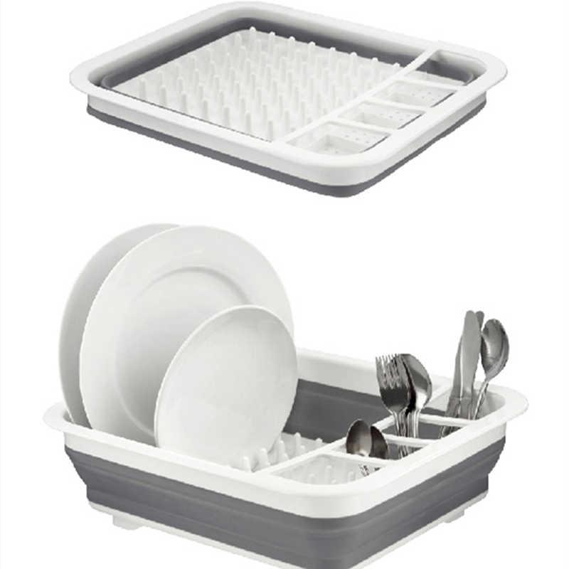 נייד מקלב מייבש קערת כלי שולחן צלחת בית מדף אוכל ארגונית מתקפל מדף צלחת אחסון בעל