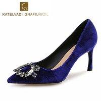 2018 Cristal De Mariage Chaussures Femme 7 CM Talons hauts Sexy Femmes Velours Bleu Chaussures De Partie De Mode Noir Chaussure Femme K-077