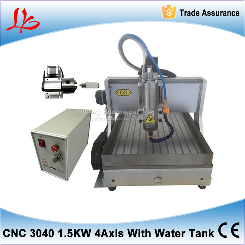Russia tax free cnc mini usb port 4 axis rotary aixs 3040 cnc milling and drilling machine 1500w spindle with water tank spray 3040zq usb 3axis cnc router machine with mach3 remote control engraving drilling and milling machine free tax to russia