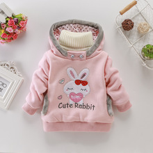 Fashion rabbit sweater children's cartoon hooded jacket children's clothing autumn and winter models J039