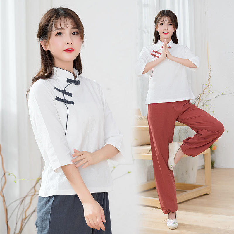 Women Linen Retro Patchwork Shirt Loose Wide Leg Pant Meditation Uniforms Gong Fu Uniforms