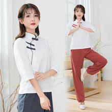 Women Yoga Set Linen Retro Patchwork Yoga Shirt Loose Wide Leg Yoga Pant Meditation Uniforms Tai Chi Kungfu Martial Arts Clothes autumn men yoga set tai chi kungfu clothes cotton linen chinese traditional loose shirt pant meditation martial arts uniforms
