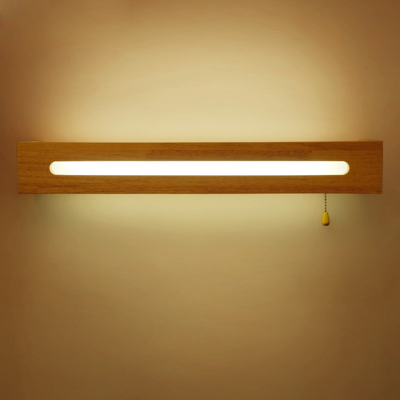 Modern Nordic Wood LED Wall Light Cabinet Makeup Mirror Lamp Bedroom Bedside Lamp Wall Sconce Lamp Rope Switch Light Decor Art