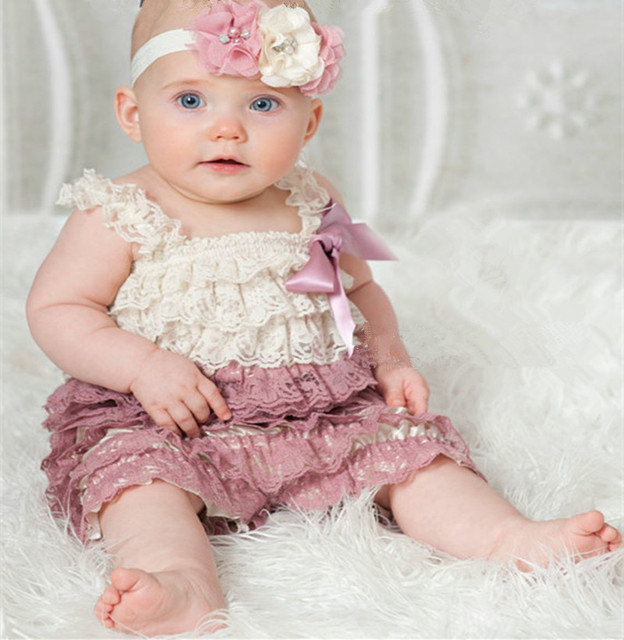 d19866363c3 Ivory Dusty Rose Lace Petti Rompers
